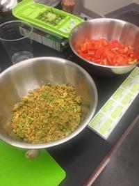 Prepped ingredients.