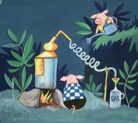 The Mellops work on distilling fuel for their plane in <i>The Mellops Go Flying.</i> Although the book was published in only three colors, many of the initial paintings were in full color.