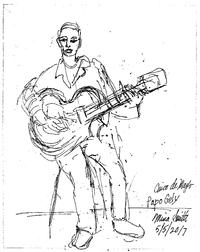 Sketch of Latin guitarist Papo Gely by one of our senior patrons, Mina Smith.