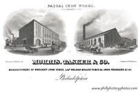 Morris, Tasker & Co., a 12-acre factory employing 1600 workers who worked around the clock manufacturing iron goods such as radiators, steam whistles, pipes and fire hydrants.