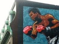 Muhammad Ali portion of the boxing mural at the once Legendary Blue Horizon boxing arena, 1314 North Broad Street.