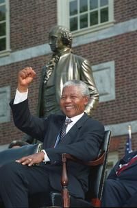 Nelson Mandela seated in front of Independence Hall on July 4, 1993, ready to receive the Liberty Medal. Photo courtsey: AP