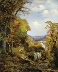<i>On the Wissahickon, Near Chestnut Hill.</i> Thomas Moran, 1870. Reprinted from <i>Metropolitan Paradise: The Struggle for Nature in the City, Philadelphia's Wissahickon Valley, 1620-2020,</i> published by Saint Joseph's University Press