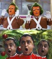 Oompa Loompas as portayed in both film adaptations (1971 and 2005) of Dahl's novel <i>Charlie and the Chocolate Factory</i>.