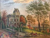 Augustus Kollner (1813-1906). At Germantown, Phila. Watercolor, October 1884.