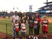 Our Be a Phanatic about Reading winners on the Phillies baseball diamond.