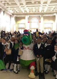 The Phillie Phanatic with students from Bache-Martin Elementary School and Russell Byers Charter School.