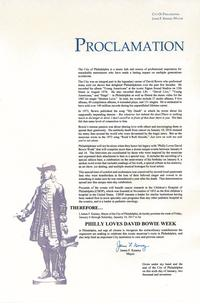 Official proclamation from City of Philadelphia and Mayor Jim Kenney for Philly Loves Bowie Week