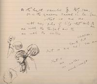 Oscar Wilde. Detail of an autograph manuscript of many poems, in a notebook illustrated with numerous sketches, ca. 1874 - 1881. Gift of Mrs. Richard Gimbel.