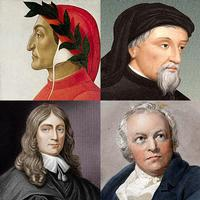 Poetry luminaries Dante Alighieri, Geoffrey Chaucer, John Milgton, and William Blake