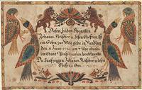 Birth Certificate by Johann Conrad Gilbert, Courtesy FLP