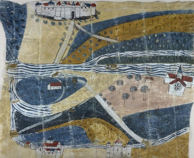 Manuscript map on parchment of a district in the southwestern department of Tarn-et-Garonne in France, depicting a river with bridges, mill, sandbanks, and ferry points along with buildings labeled by a contemporary hand. Probably made between 1460 and 1545. University of Pennsylvania LJS 310