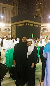 Shahadah and her mom at the Kaaba during their Umrah Journey.
