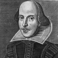 An engraving of Shakespeare by Martin Droeshout, as found on the cover of the First Folio.  It was engraved in 1622.