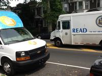 Techmobile and Free Library delivery truck meeting up on the road!