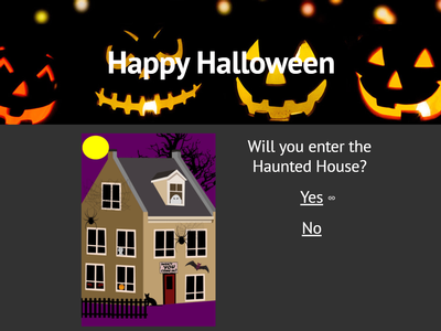 Navigate the haunted house to discover many frightening activities.