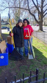 Wynnefield Library volunteers help with a spring clean up.