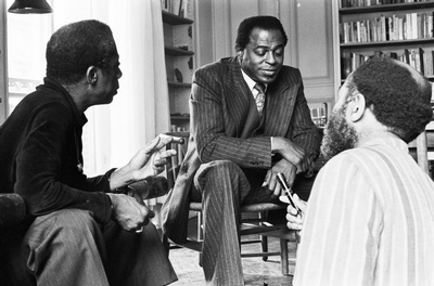 Shepp in conversation with the novelist and essayist James Baldwin and the poet and onetime Charlie Parker roommate Ted Joans, in 1975
