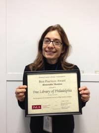 Free Library's own Abbe Klebanoff was awarded a Best Practices Honorable Mention for her program,