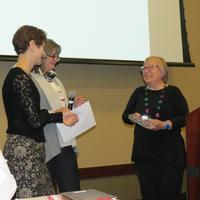 Peg Szczurek receiving her award