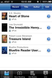 Bluefire works with Library ebooks!