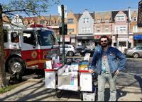 Joseph with the Book Bike on Broad Street in South Philly.