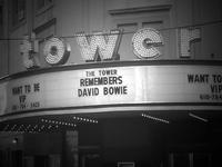 The Tower Theater in Upper Darby, PA remembers David Bowie on their marque after his death.
