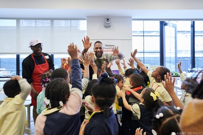 Bryant Terry cooked with Nourishing Literacy in February, 2020! Photo credit: Albert Yee