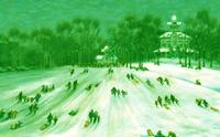 Painting of winter sledding at Burholme Park in Northeast Philadelphia
