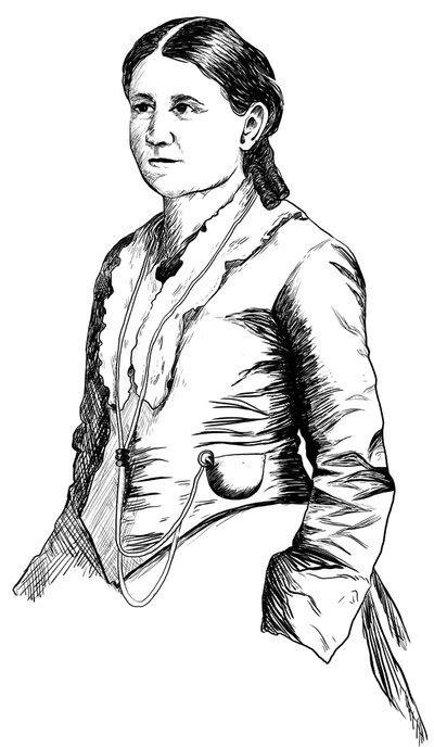 Carrie S. Burnham (1838-1909), illustration by Maylee Burgoon, 2020, after portrait photograph of Caroline Burnham Kilgore, University of Pennsylvania Archives