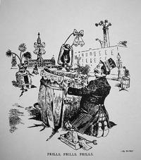 Political cartoon from the Philadelphia Record lampooning the City Beautiful Movement, April 8, 1908.