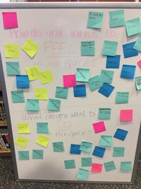 Teens describe what they want to feel and do in the space and placed it on post-it notes.