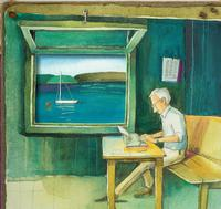 Illustration of E.B. White writing away at his typewriter, from the biography <i>Some Writer: The Story of E. B. White</i>!