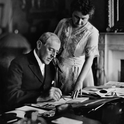 First Lady Edith Wilson with Woodrow Wilson.