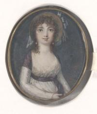 Elizabeth Arnold Hopkins Poe (1787–1811). Portrait on ivory. Gift of Colonel Richard Gimbel.