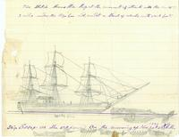 A drawing of the whaleship Essex by the ship's cabin boy.