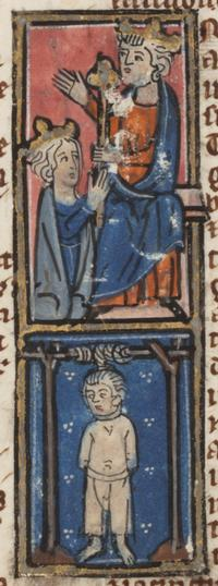 Esther being crowned; Haman being hanged