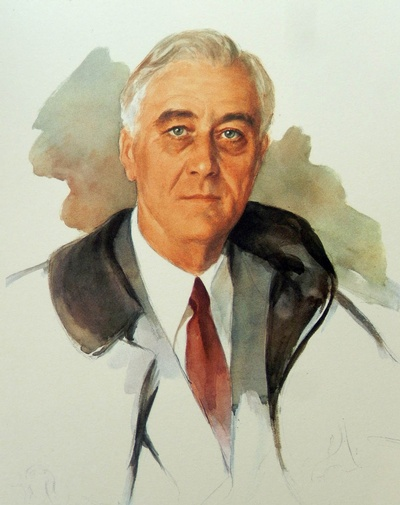 The famous unfinished portrait of US President Franklin D. Roosevelt, started by Elizabeth Shoumatoff on the day of his death.