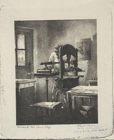 Federal Art Print Shop / David Cain. Lithograph, n.d.