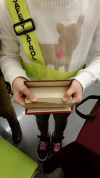 Student holding a fore-edge painting