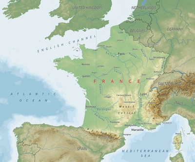 Map of France. Image provided by Creative Commons.