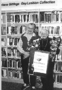 Barbara Gittings at the opening of her namesake collection at Independence Library