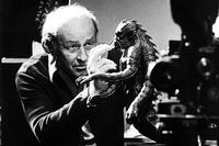 Ray Harryhausen on set with The Kraken (photo: Everett Collection)