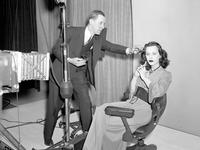 Hedy Lamarr on set, getting ready to film.