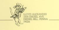 Lloyd Alexander's letterhead, featuring two of his favorite things: cats and music.