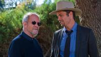 Elmore Leonard and Timothy Olyphant on set of tv show Justified