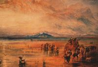 J.M.W. Turner. Lancaster Sands. Watercolor on paper. c. 1818. Birmingham Museum and Art Gallery. Turner's red-infused, dramatic skies in paintings of this period are thought to reflect the atmospheric changes of the Year Without a Summer.