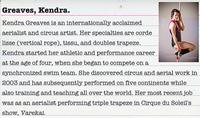Interested in the circus arts? Meet acclaimed aerialist Kendra Greaves!