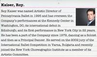 Discuss the art of ballet with Roy Kaiser, Artistic Director of the Pennsylvania Ballet!