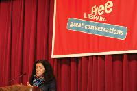 author Marjane Satrapi at the One Book announcement
